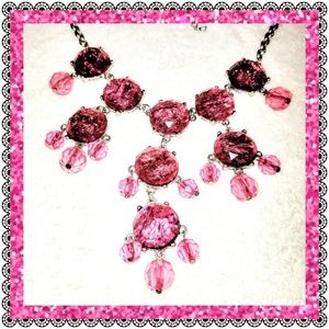 Jewelry - Sparkling pink cabochon statement necklace